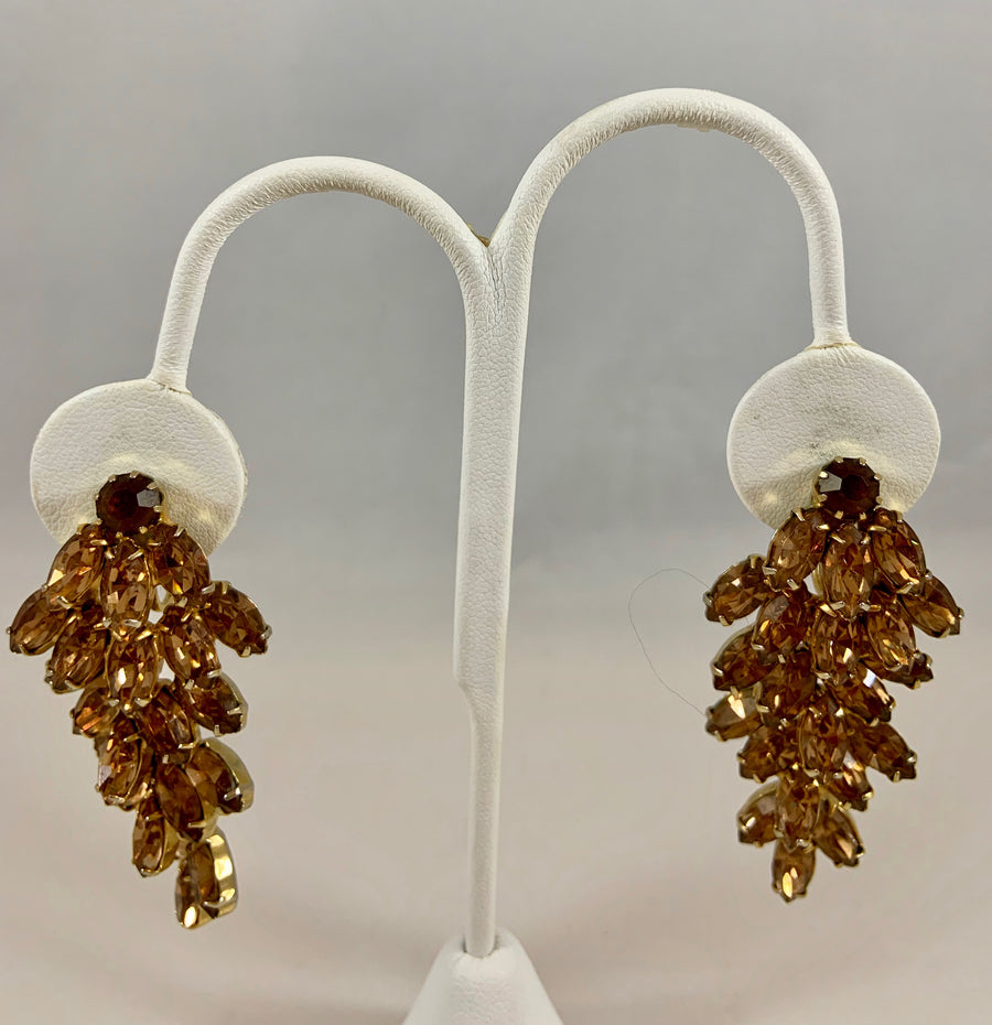 1950s Weiss Four Tiered Crystal Brown Earrings