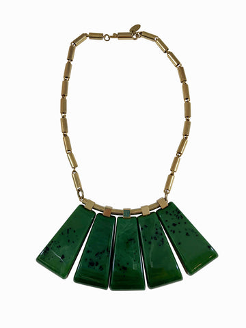 Lanvin Green Lucite Necklace 1970s