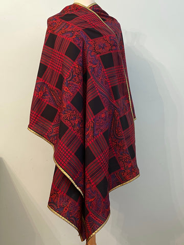 1970s Yves Saint Laurent Metallic Plaid and Paisley Wool Challis Shawl