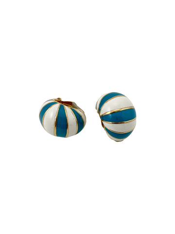 Ciner Turquoise and White Striped Earrings