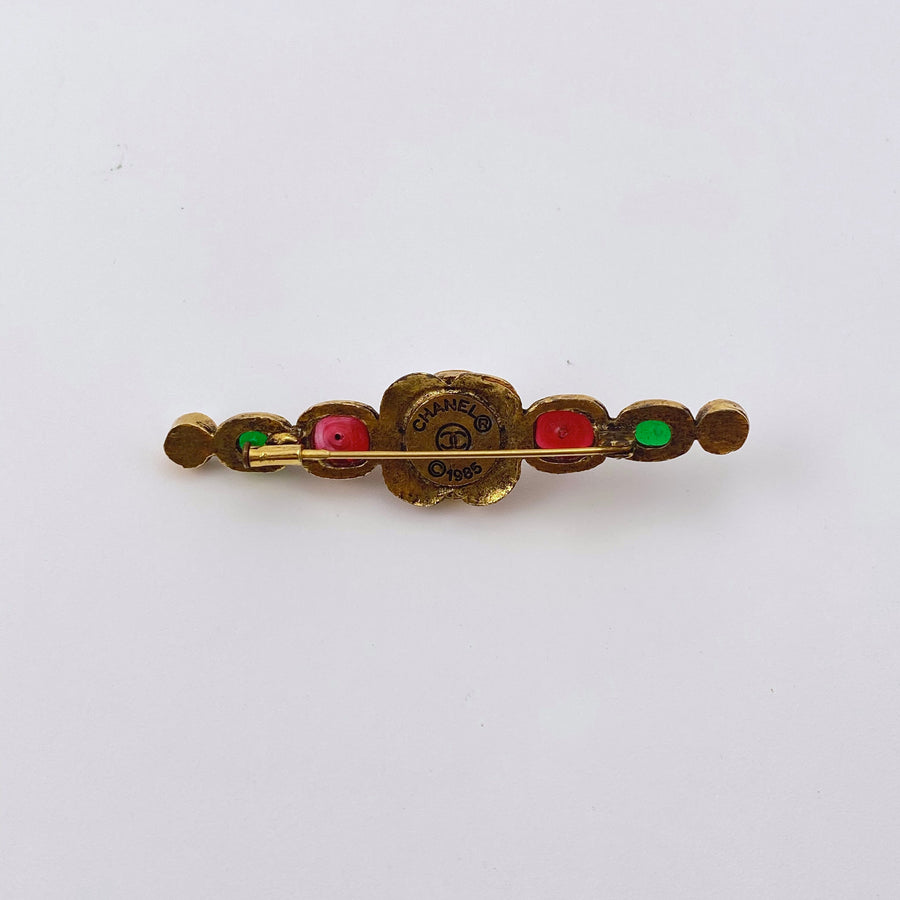 1980s Chanel Brooch with Faux Pearl and Red and Green Gripoix Glass