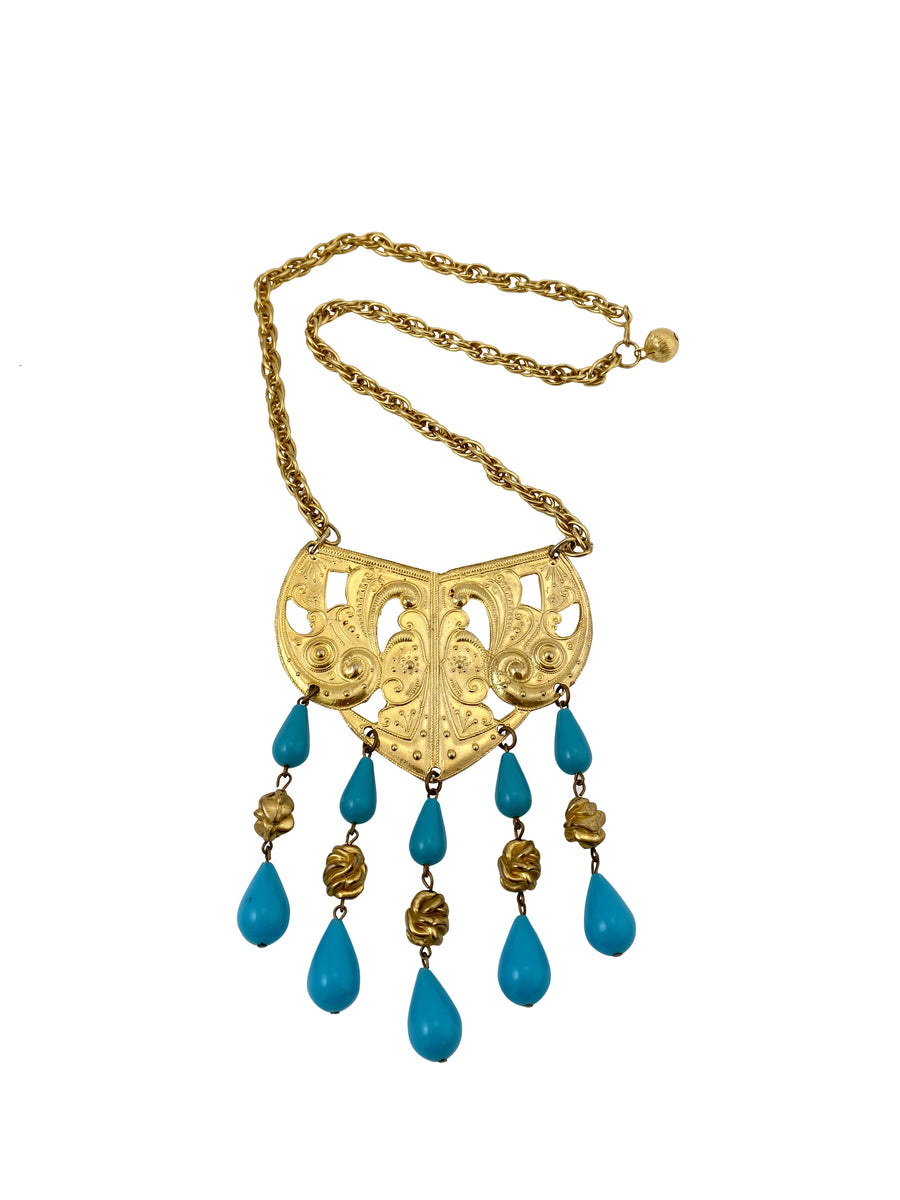 1970s Kenneth Jay Lane Tribal Necklace with Turquoise Beads