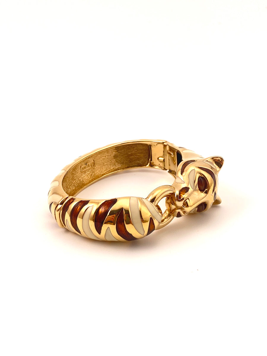 1980s Ciner Brown & Cream Enamel Tiger Cuff Bracelet