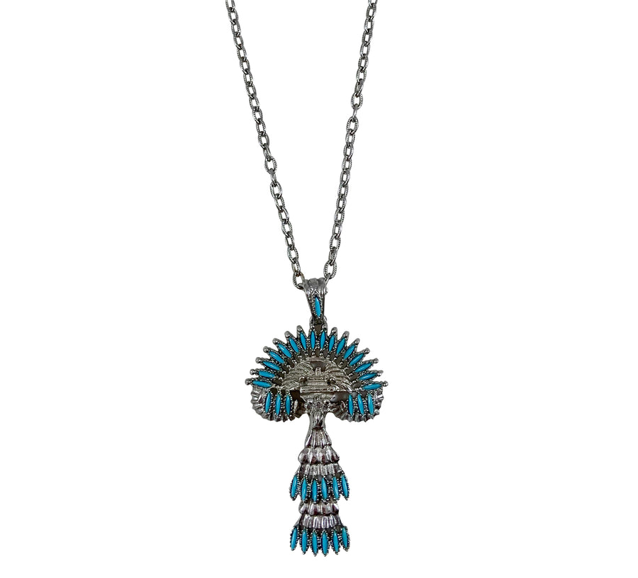 1970s Castlecliff Silvertone and Turquoise Tribal Pendant Necklace by Larry VRBA