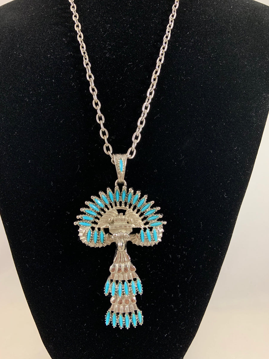 Castlecliff Silvertone and Turquoise Tribal Pendant Necklace by Larry VRBA 1973