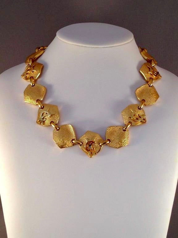 Yves Saint Laurent Goldtone Logo Necklace 1990s