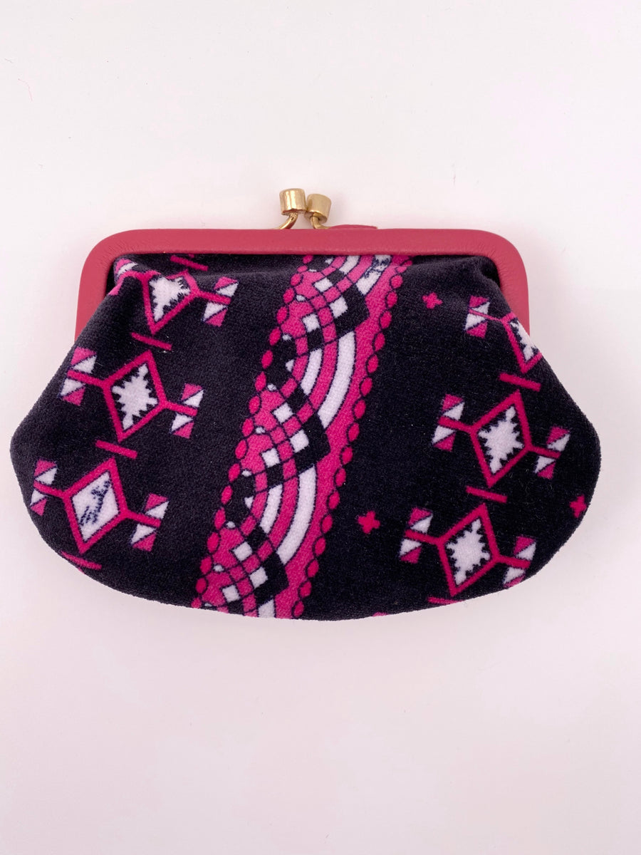 1960s Emilio Pucci Pink and Black Printed Velvet Pouch