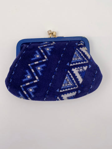 1960S EMILIO PUCCI BLUE AND BLACK PRINTED VELVET POUCH