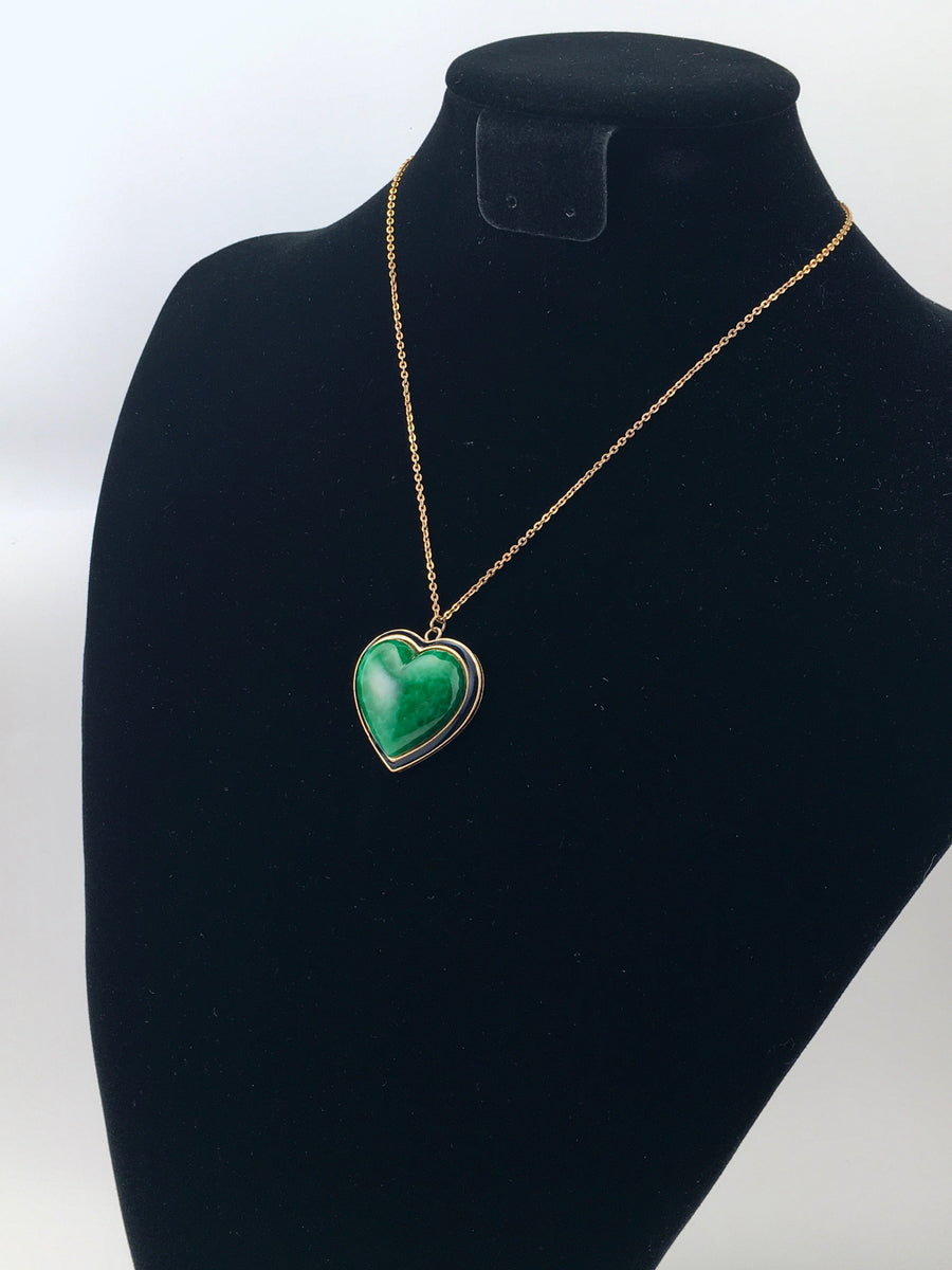Ciner Green Heart Pendant Necklace 1980s