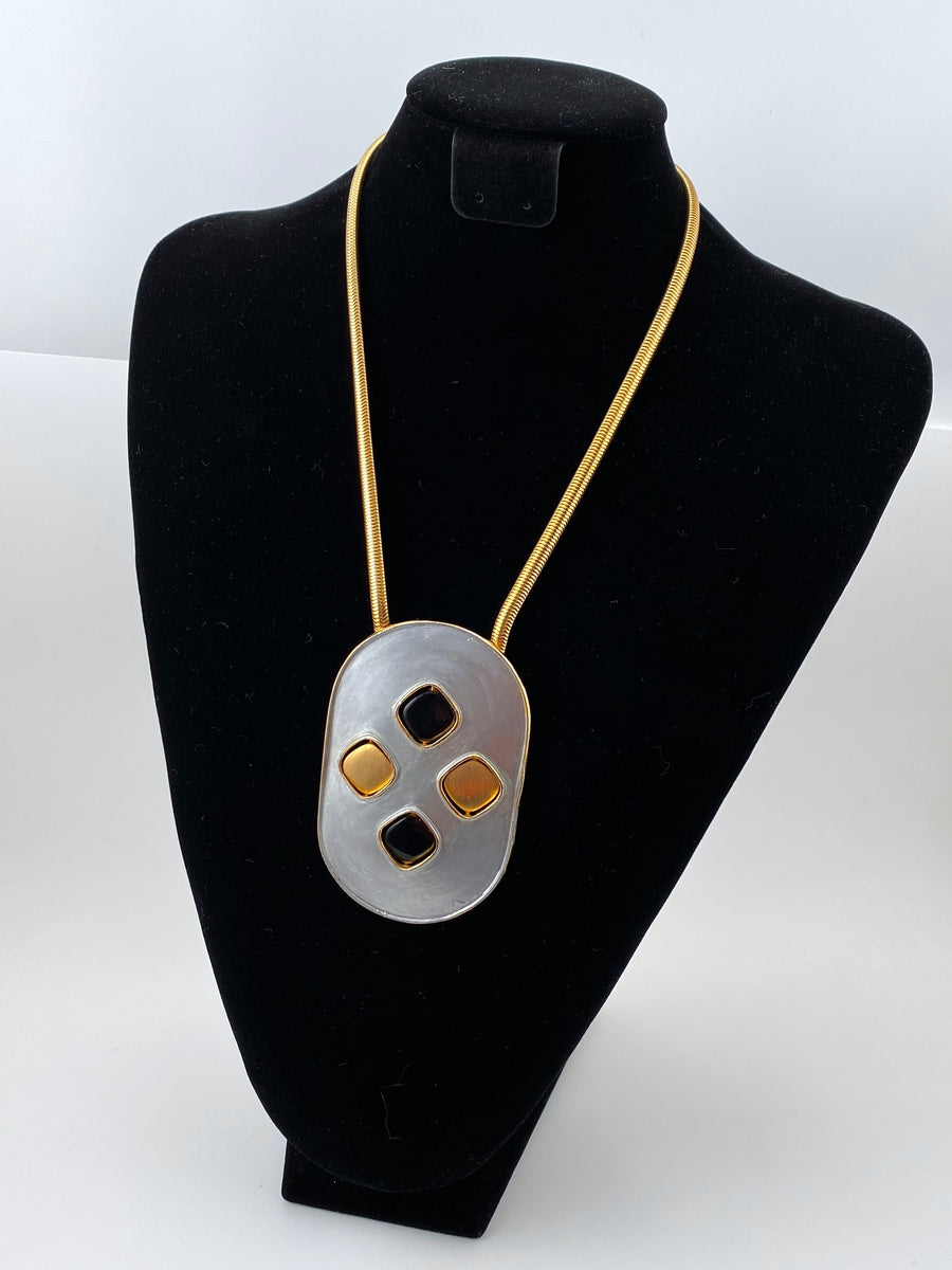1960's PIERRE CARDIN Necklace with Reversible Gold, Silver and Enamel Pendant