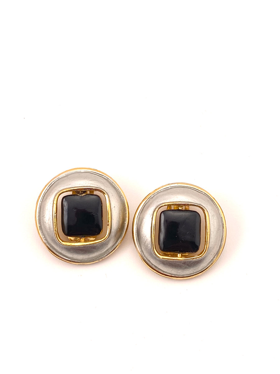1960's PIERRE CARDIN Reversible Silvertone Earrings with Black and Gold