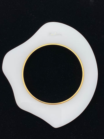 1960s Pierre Cardin White Resin Amorphous Shaped Bangle