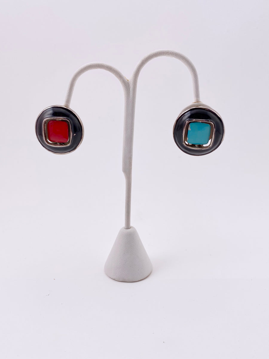 1960's PIERRE CARDIN Reversible Black Earrings with Red and Turquoise Enamel