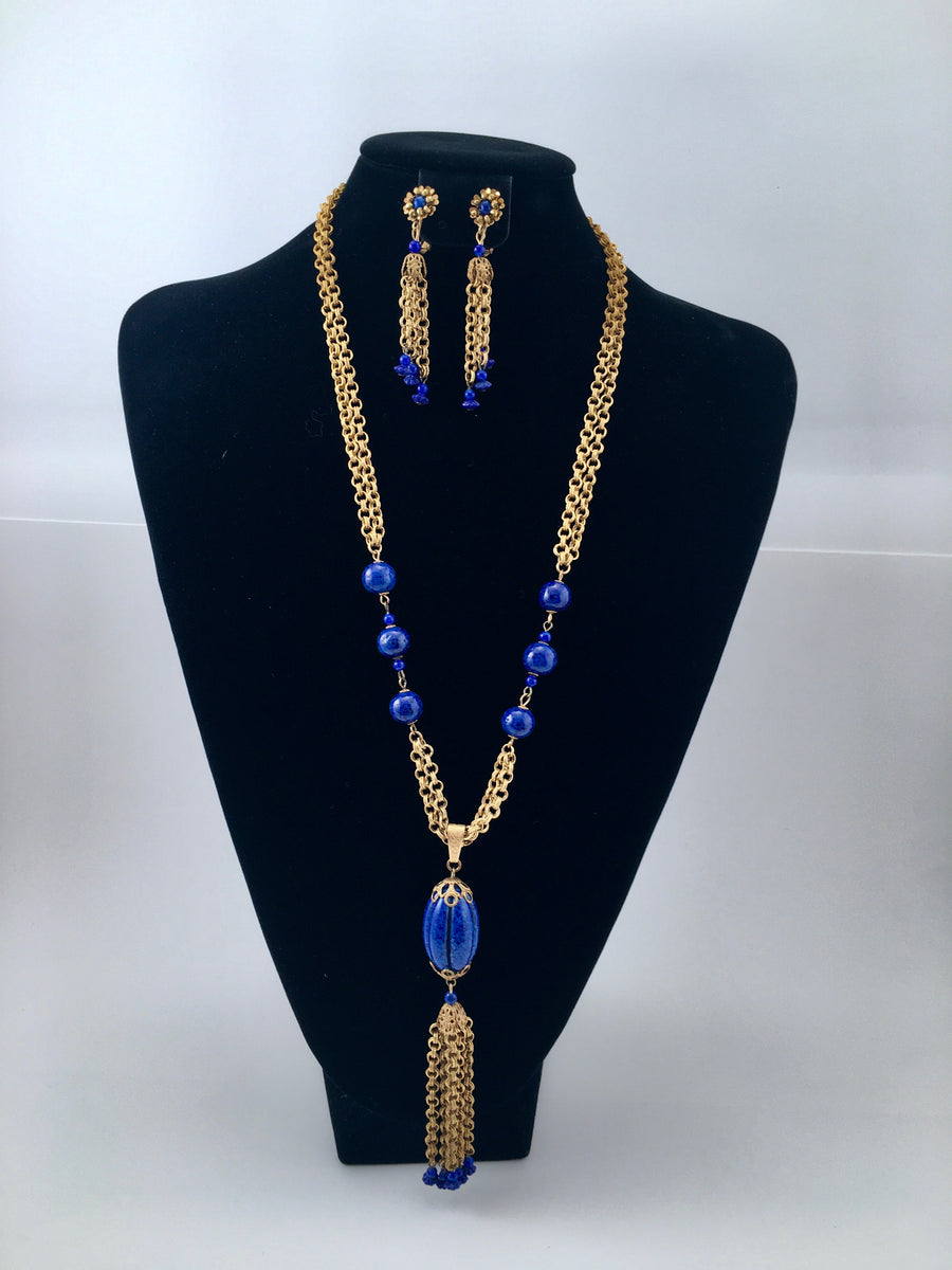 Miriam Haskell 1960s Lapis Necklace and Earrings Set
