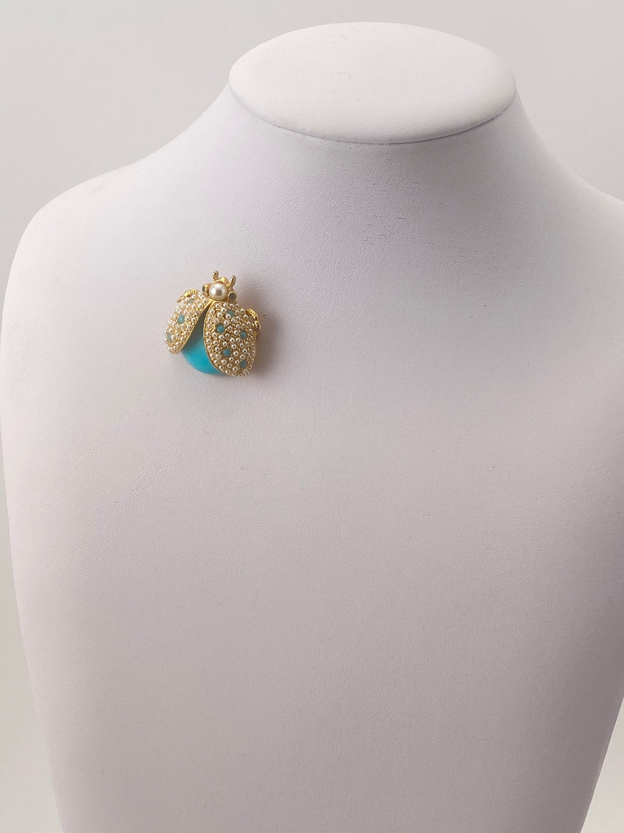 1960s Hattie Carnegie Turquoise and Pearl Beaded Bug Brooch