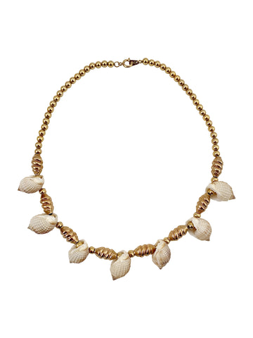 1970s Napier Shell and Gold Bead Necklace