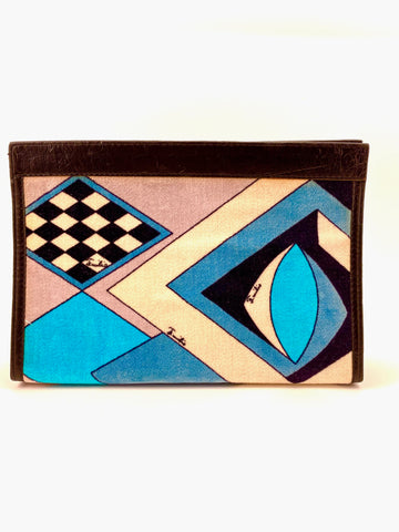 1970s Emilio Pucci Velvet Geometric Patterned Clutch