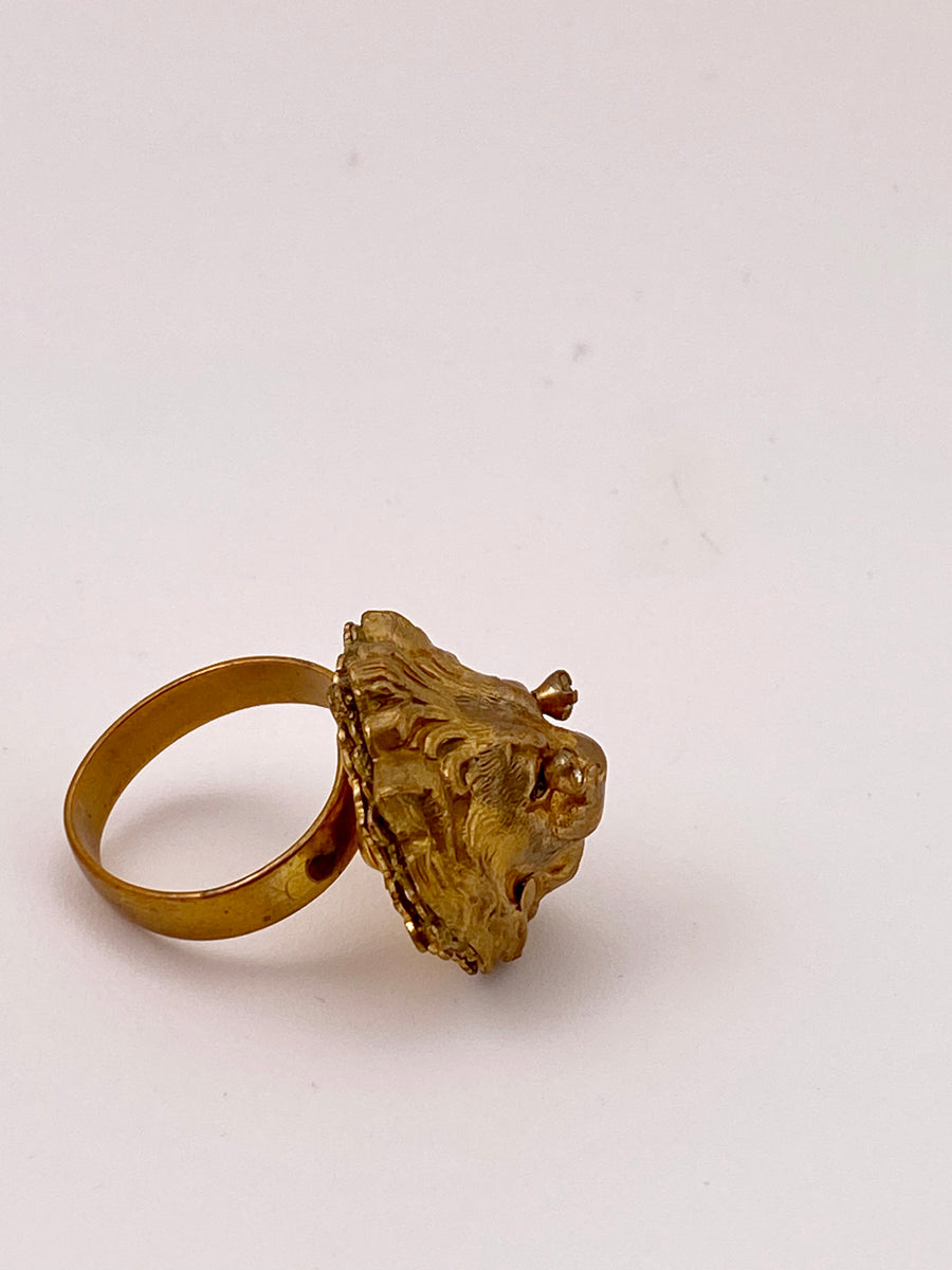 Vintage Miriam Haskell Lion Head Adjustable Ring