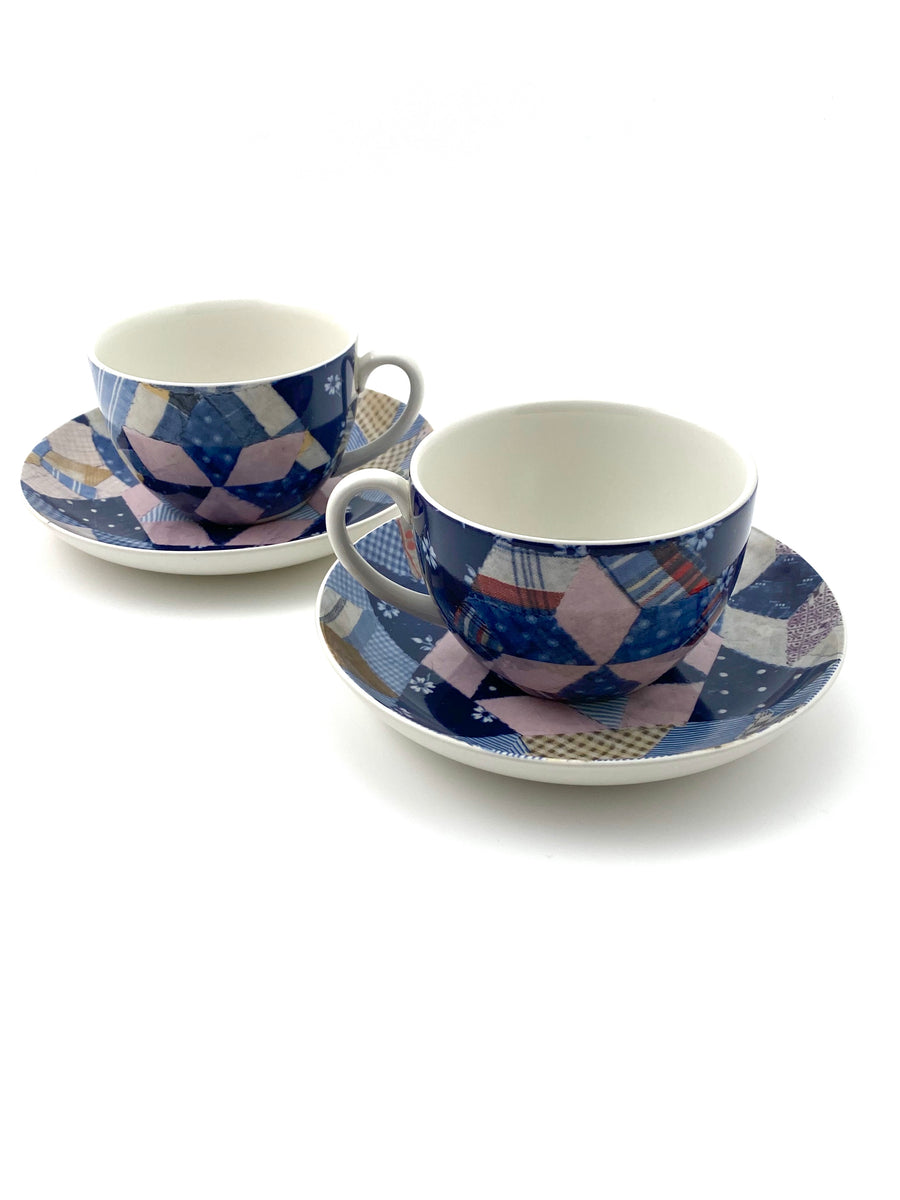 Ralph Lauren Wedgewood Patchwork Pattern Cups and Saucers