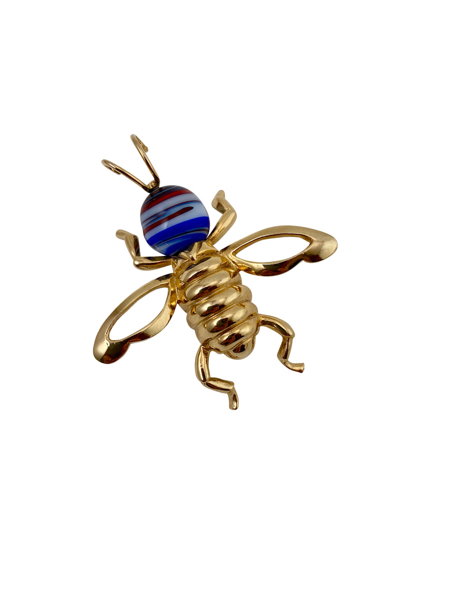 1970s Castlecliff Bee Brooch with Blue and Red Glass Head