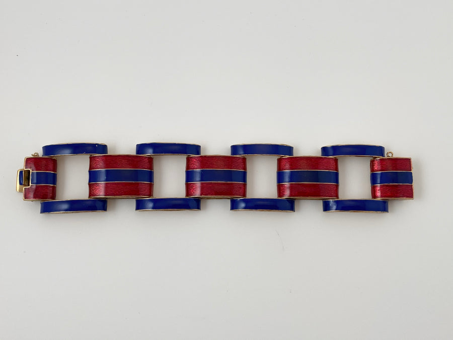 1970s Red and Blue Enamel Link Bracelet