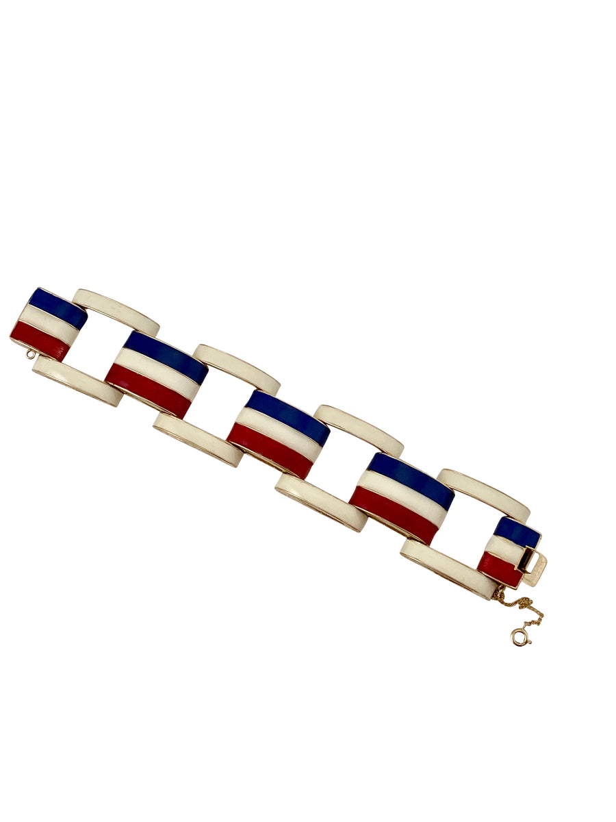 1970s Red, White and Blue Link Bracelet