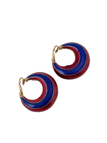 1970s Red and Blue Enamel Hoop Earrings