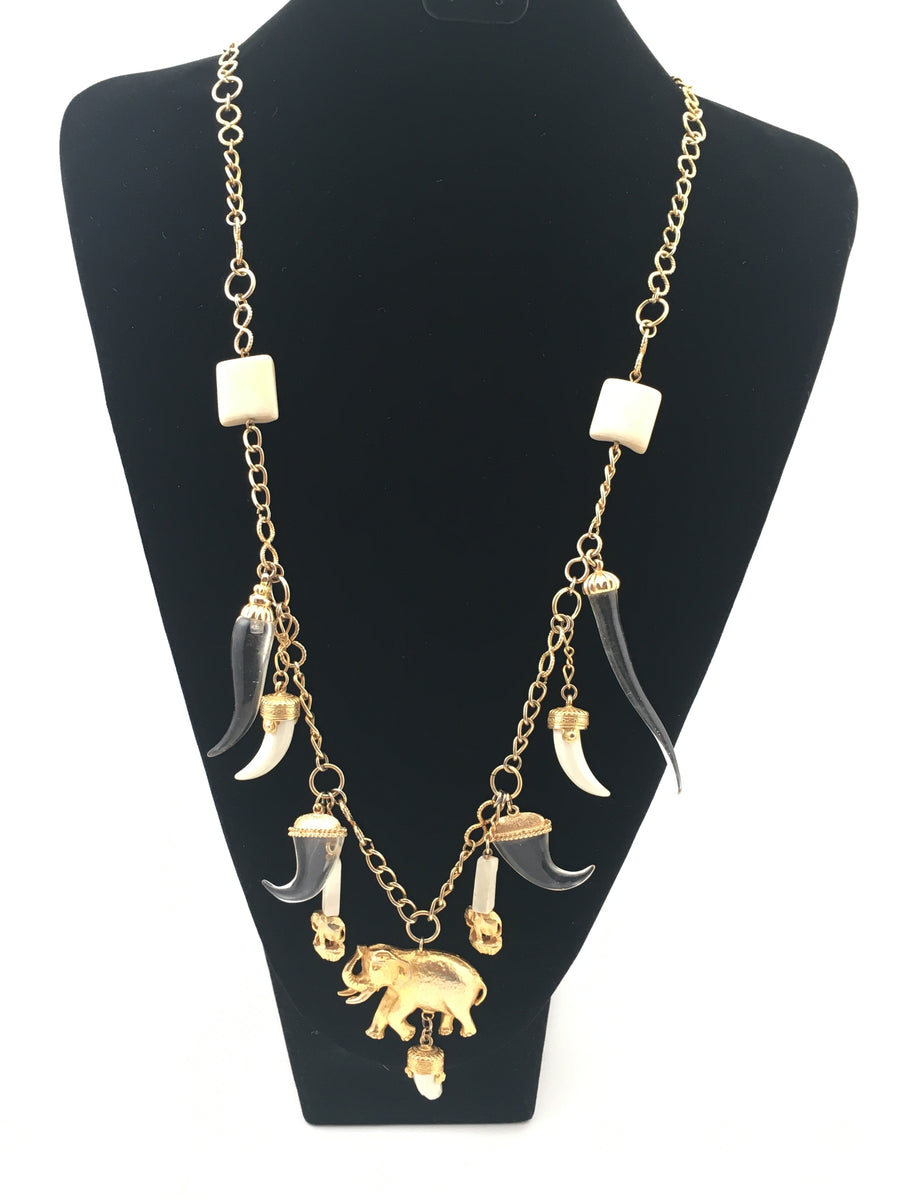 Kenneth Jay Lane Lucite Elephant Charm Necklace