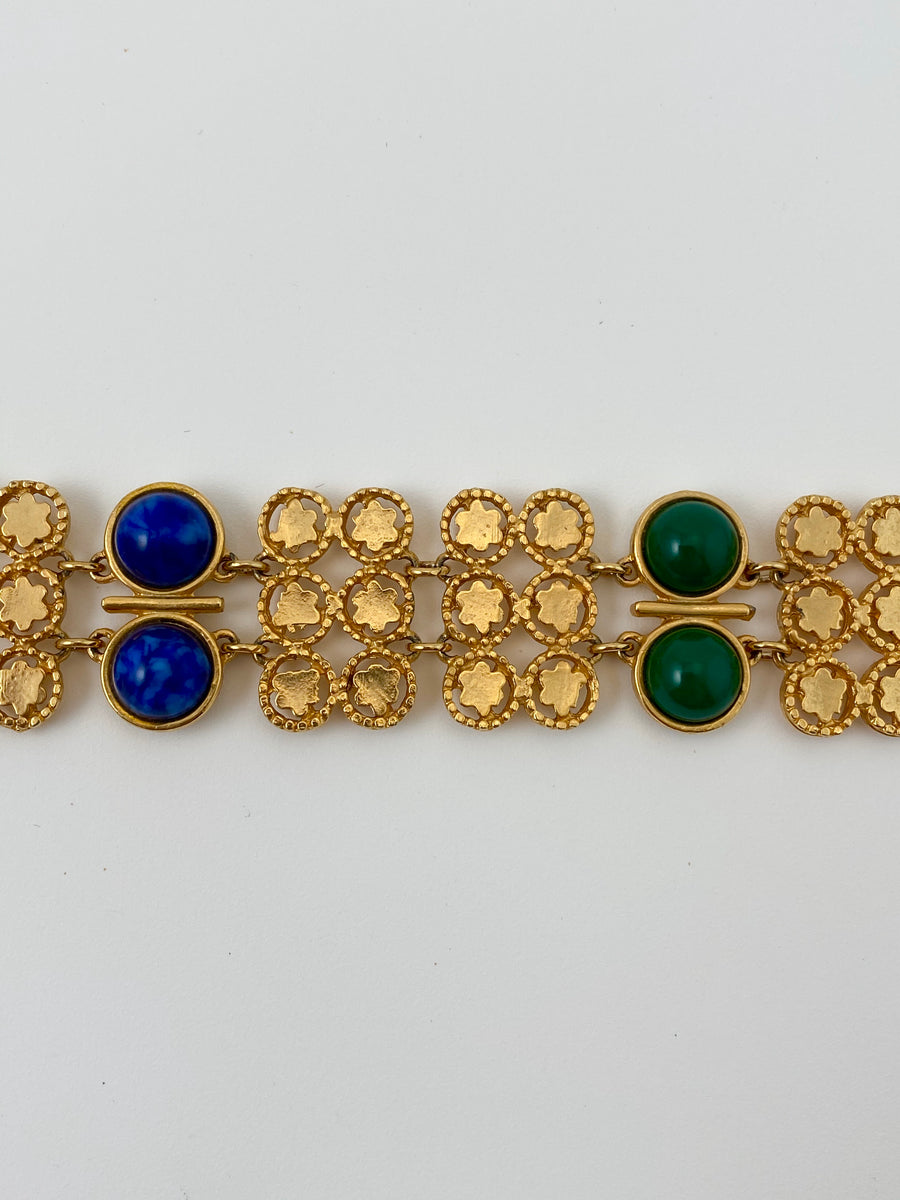 1970s Gold-Tone Choker Necklace with Blue and Green Stones