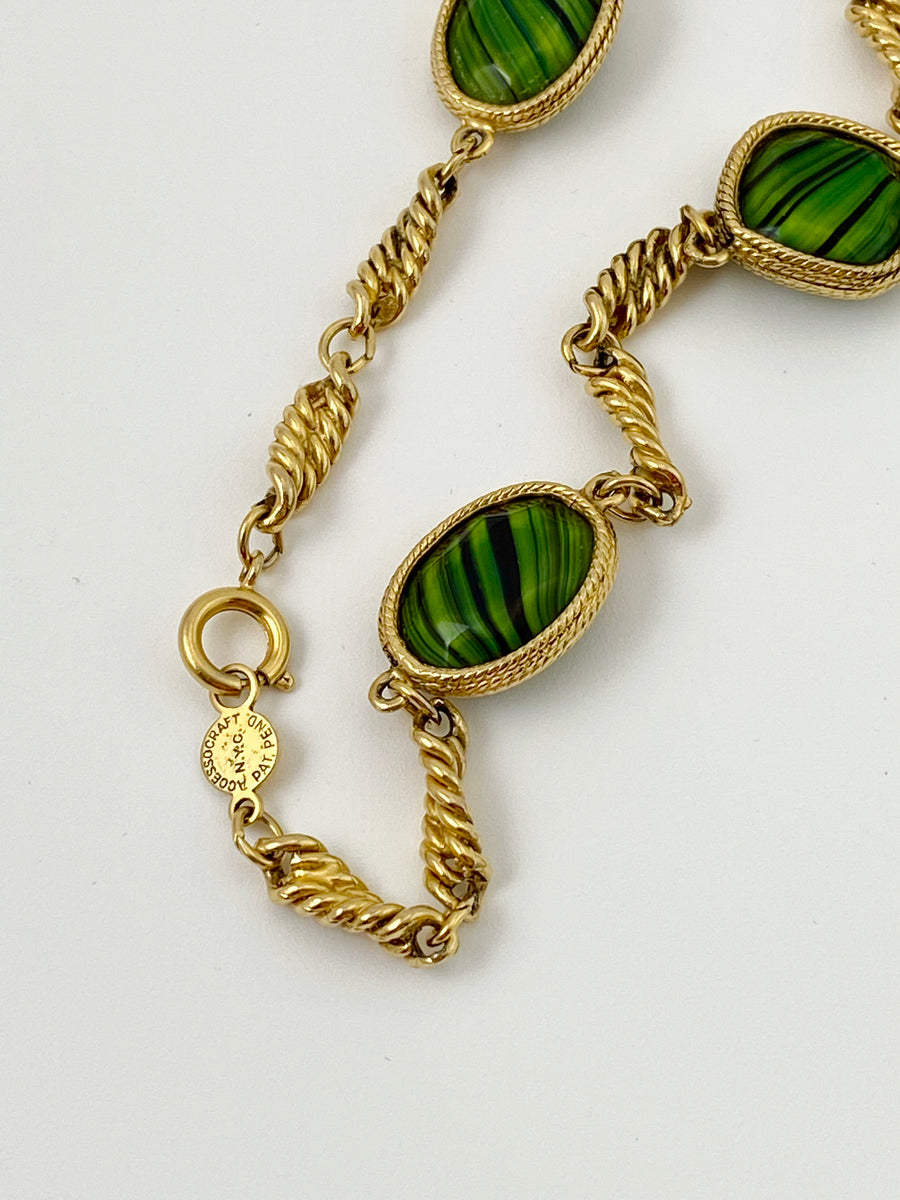 Accessocraft 1970s Malachite and Gold-Tone Long Necklace