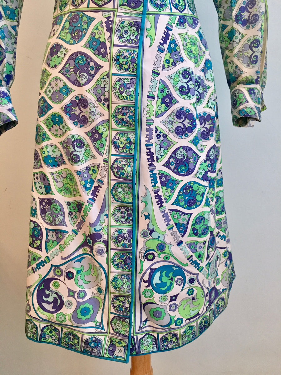 Emilio Pucci Blue and Green Cotton Blouse and Skirt Set 1970s