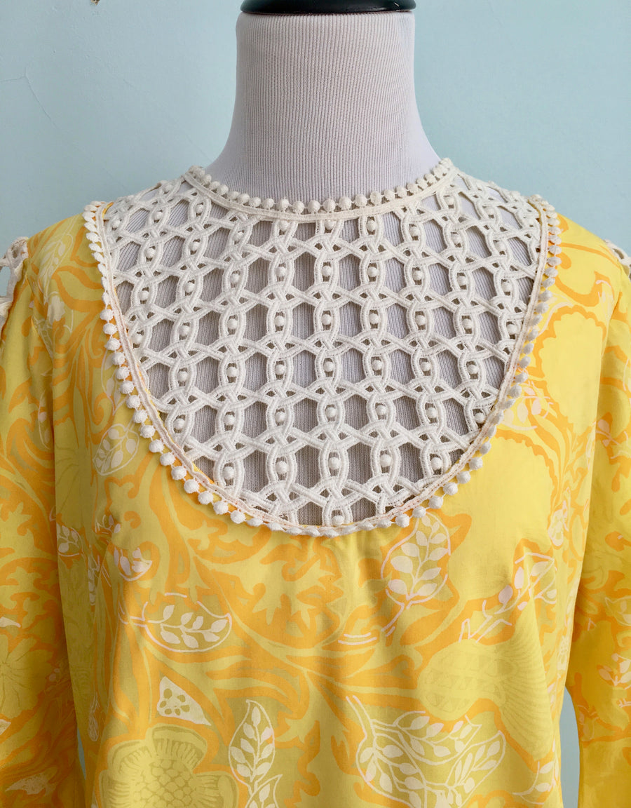 1960s Lilly Pulitzer Yellow Maxi Dress Caftan with Lace Inserts
