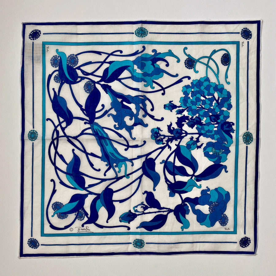 Emilio Pucci 1970s Blue and White Small Cotton Scarf/Handkerchief