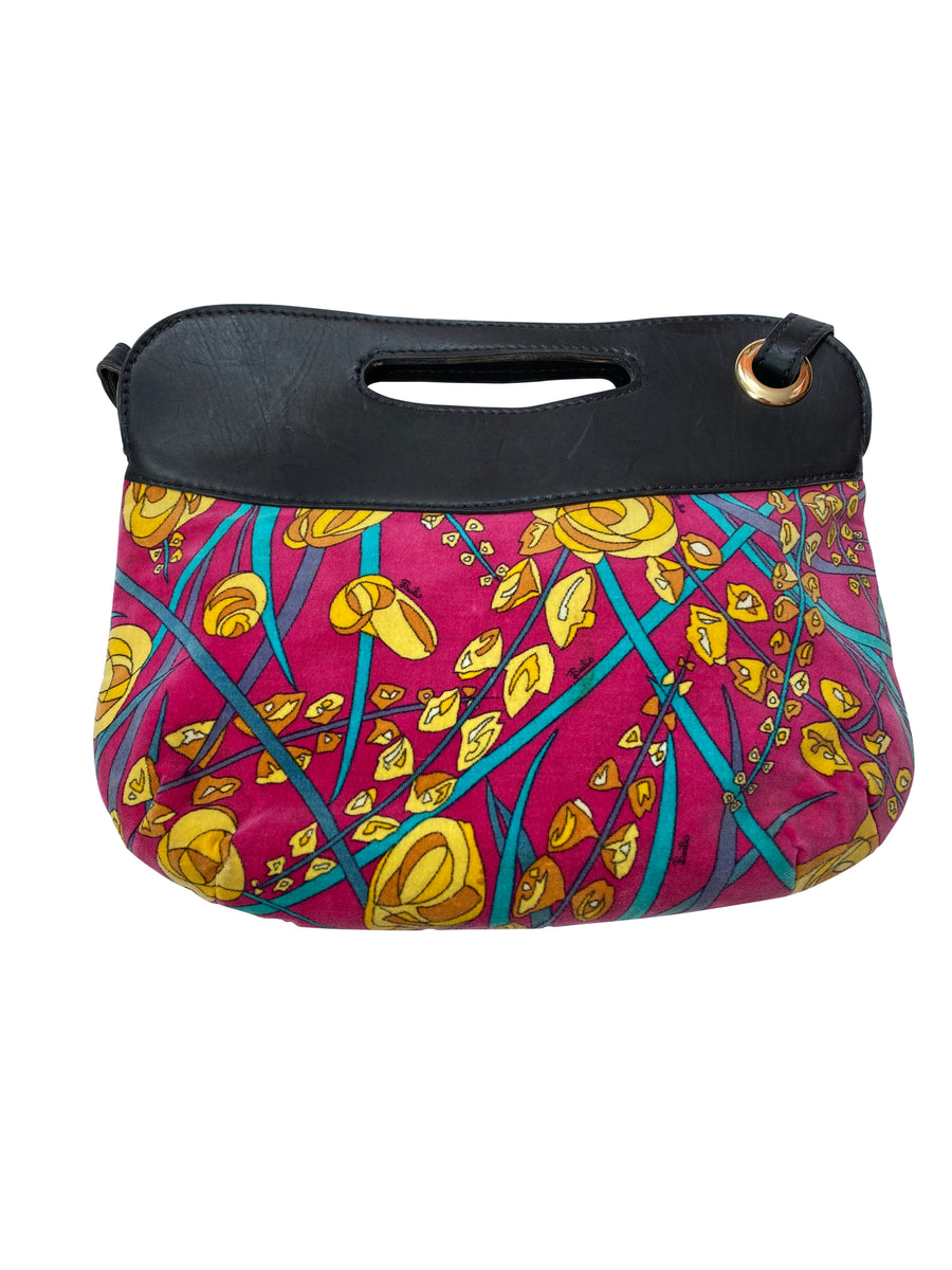 1960s Pucci Velvet Floral Print Handbag with Removable Strap