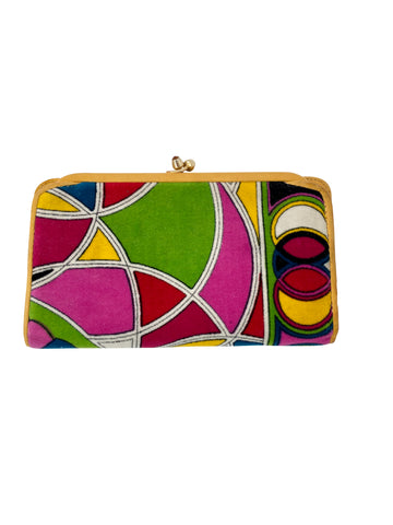 1960s Emilio Pucci Multi-Colored Velvet Geometric Print Wallet