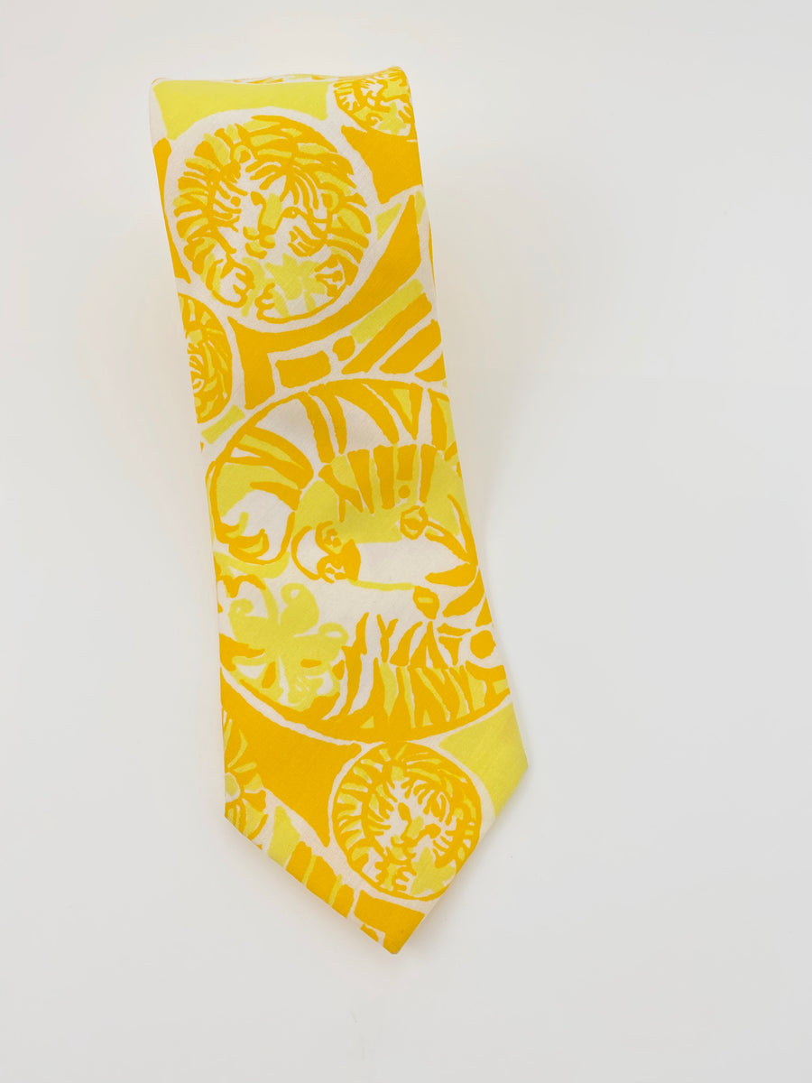 LILLY PULITZER 1970'S MEN'S STUFF YELLOW TIGER PRINT TIE