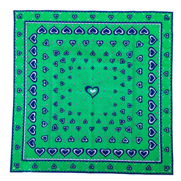 Vintage Green Emilio Pucci Cotton Heart Scarf