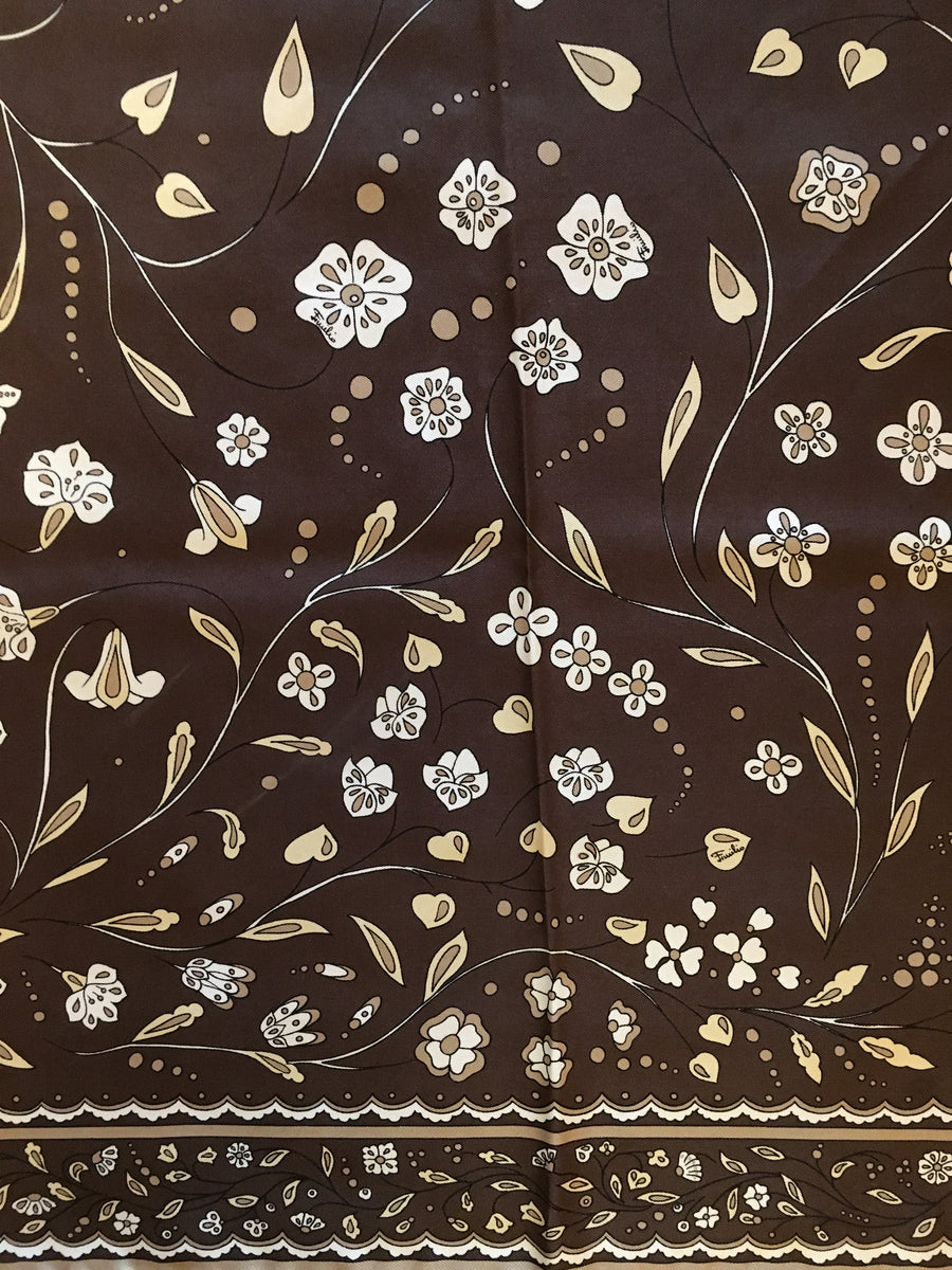 Early 1970s Emilio Pucci Brown Floral Scarf