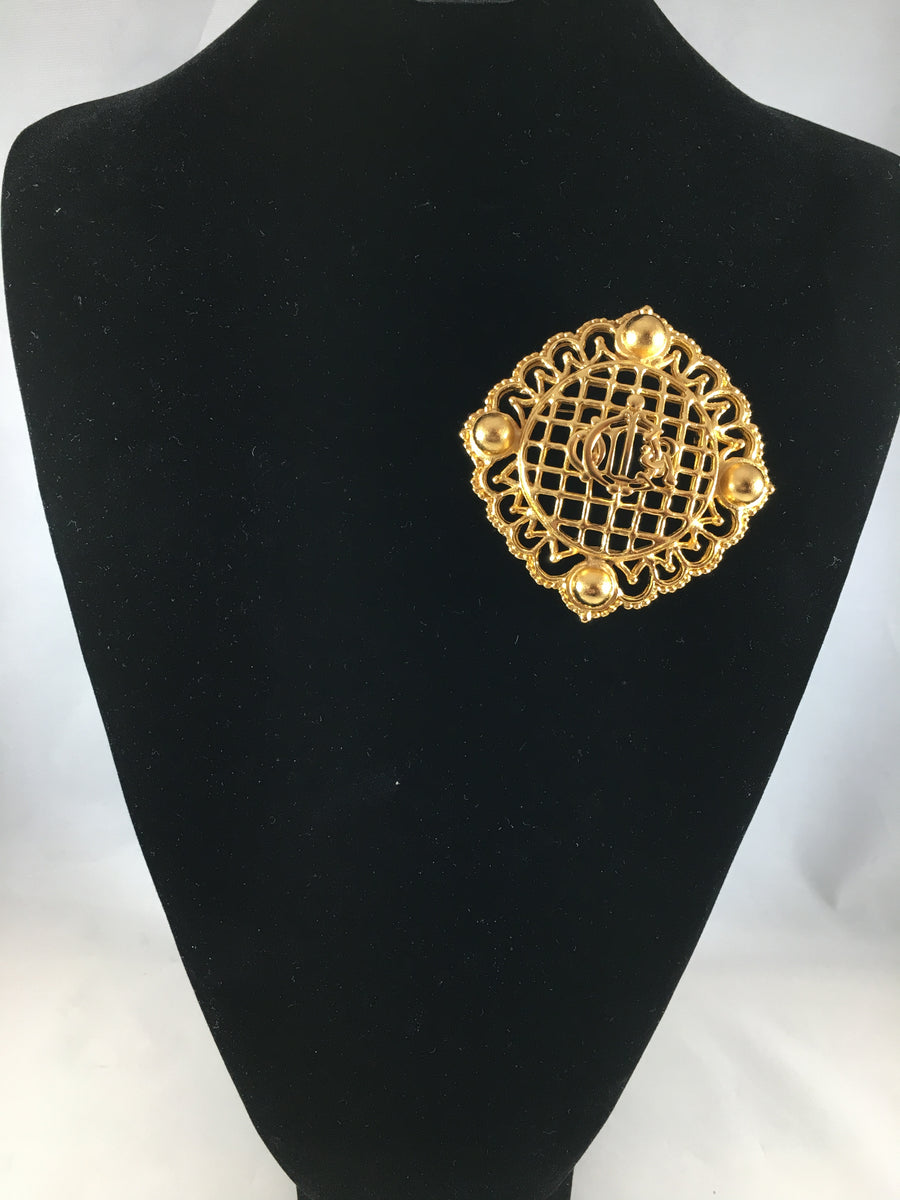 Large 1980s Christian Dior Logo Brooch