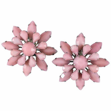 Large Pink Flower Earrings by Weiss 1950s
