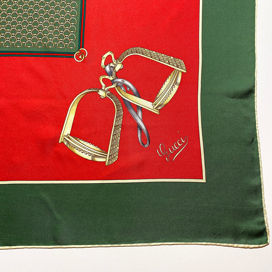 1970s Gucci Equestrian Scarf Red and Green