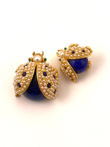 Two 1960s Hattie Carnegie Lapis and Pearl Beaded Bug Brooches