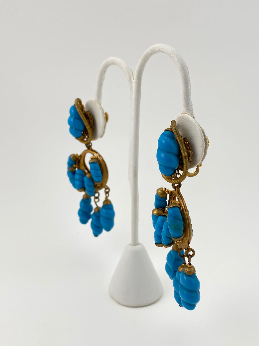 1950s Miriam Haskell Turquoise Bead Dangle Earrings