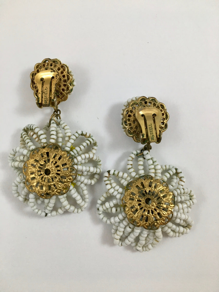 Miriam Haskell Beaded Daisy Drop Earrings 1950s