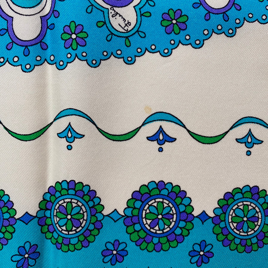 1970s Emilio Pucci White, Turquoise and Purple Silk Scarf