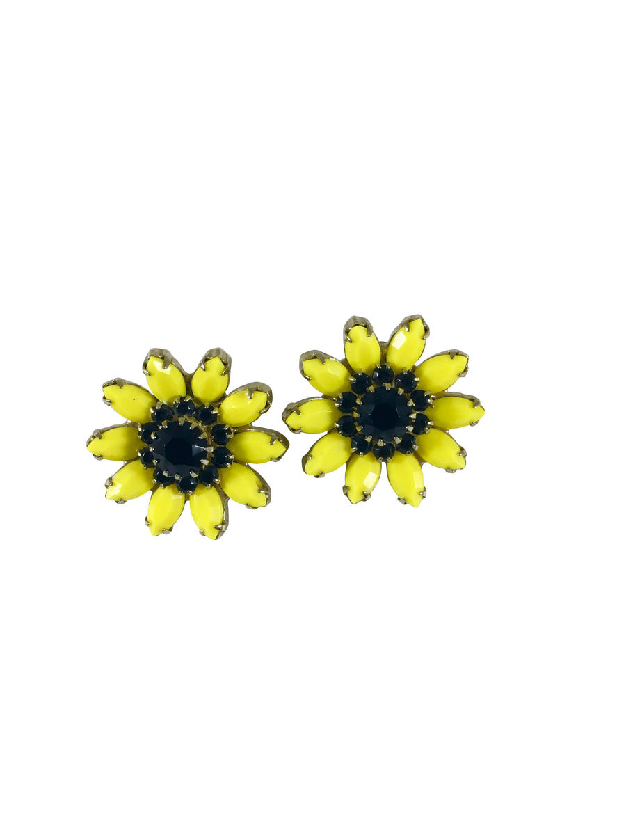 Yellow and Black Flower Earrings by Weiss 1960s