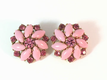 Elsa Schiaparelli Pink 1950s Earrings