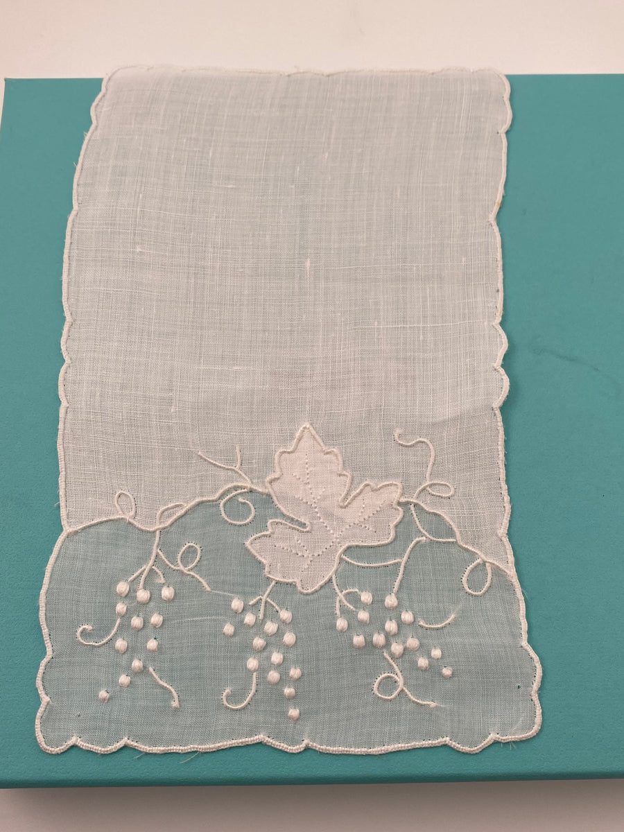 8 Vintage White Embroidered Grape Cocktail Napkins