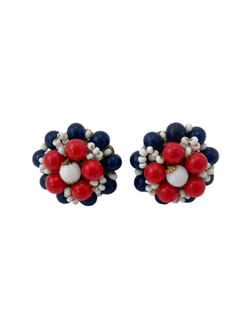 1970s Miriam Haskell Red, White and Blue Beaded Earrings