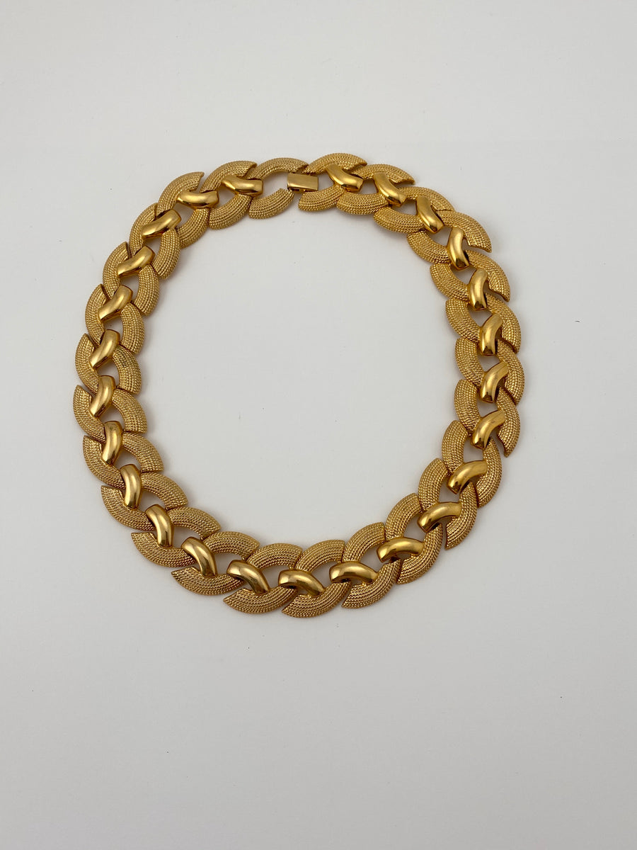 Vintage Napier Textured Gold Link Necklace